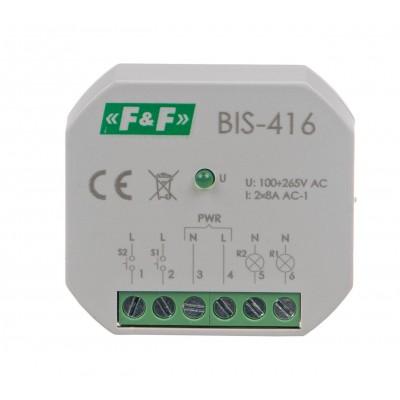 Bistabili 2-kanalų relė ON/OFF, Un= 230V, I = 2x8A, kontaktai 2NO, tvirtinimo terminalas, potinkinei dėžutei Ø60 - Ratechna.eu